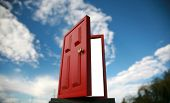 image of dimentional  - a magic red door  leading to the outside world or perhaps a portal to the 5th dimention - JPG