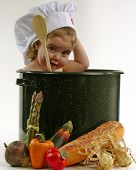 picture of yoke  - baby girl in a chef pot - JPG