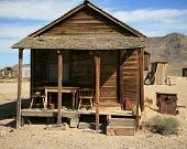 stock photo of gold mine  - an old gold miners shack in a real ghost town from the 1800 - JPG