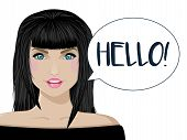 Beautiful Girl Says Hello. Brunette On White Background With Text. Vector Illustration. poster