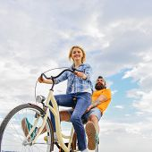 Couple With Bicycle Romantic Date Sky Background. Explore City. Man And Woman Rent Bike To Discover  poster