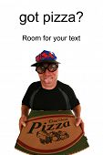 picture of pizza parlor  - A funny happy pizza delivery man delivering a hot - JPG