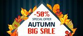 Autumn Special Offer Sale Banner Horizontal. Cartoon Illustration Of Autumn Special Offer Sale Banne poster