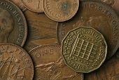 Постер, плакат: Старые монеты Соединенного Королевства текстуры