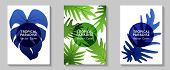 Tropical Paradise Leaves Vector Covers Set. Trendy Floral A4 Design. Exotic Tropic Plant Leaf Vector poster
