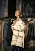 Shopping, Seller, Fashion Model, Customer. Fashion And Beauty, Winter, Fur. Woman In Fur Coat, Shopa poster