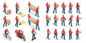 Isometric Big Set Of Delivery Man And Woman In Uniform Holding Boxes And Documents In Different Pose poster