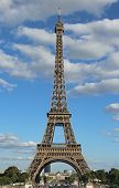 View Of The Eiffel Tower With Blue Sky And Clouds From The Trocadero Gardens In Paris France poster