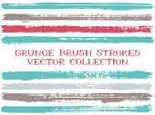 Long Ink Brush Strokes Isolated Design Elements. Set Of Paint Lines. Advertising Stripes, Textured P poster