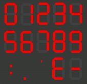 Set Of Calculator Digital Numbers. Electronic Figures. Lcd Digital Number. Red Clock Digital. poster