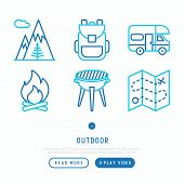 Outdoor Thin Line Icons Set: Mountains, Backpack, Camper, Fire, Map, Barbecue. Modern Vector Illustr poster