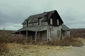 image of abandoned house  - Abandoned house and damaged house in New England - JPG