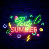 Summer Night Party. Summer Beach Party Poster With Lettering Typography, Neon Elements And Tropical  poster