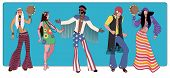 Group Of Five Wearing Hippie Clothes Of The 60S And 70S Dancing poster