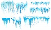 Set Of Ice Caps. Snowdrifts, Icicles, Elements Winter Decor. New Year Decoration Kit For Website. Is poster