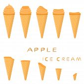 Vector Illustration For Natural Apple Ice Cream On Waffle Cone. Ice Cream Pattern Consisting Of Swee poster