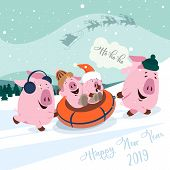 Christmas Set Of Cute Little Pigs. New Year Symbol. Vector Illustration Of A Pig-a Symbol Of The Chi poster