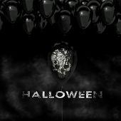 Halloween Sinister Background, Black Balloons And Skull, 3D Rendering poster