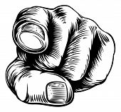 Woodcut Vintage Style Hand Pointing A Finger At You In A Wants You Or Needs You Gesture poster