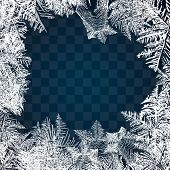 Frost Glass Pattern. Winter Frame On Transparent Background. Vector Christmas Illustration. Frozen W poster