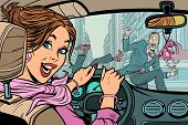 Joyful Woman Driver, Accident On Road With Pedestrian. Comic Cartoon Pop Art Retro Vector Illustrati poster