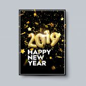Happy New 2019 Year. Holiday Poster Template Or Festive Party Invitation Design. Vector Illustration poster