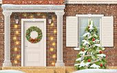 Entrance To The House, Decorated With A Garland And Christmas Wreath And A Christmas Tree In The Fro poster