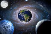 Landscape Galaxy. Planet, Earth, Moon View From Space With Milky Way Galaxy. (elements Of This Image poster