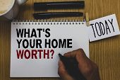 Conceptual Hand Writing Showing What S Is Your Home Worth Question. Business Photo Text Value Of A H poster