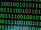 Programming Code On A Black Background. A Binary Code With An Error. Digit 2 In Binary Code poster