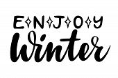 Enjoy Winter. Isolated Vector, Calligraphic Inspiring Phrase. Hand Calligraphy. Modern Seasonal Tour poster