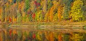 Beautiful Orange, Red And Green Autumn Forest, Many Trees On The Orange Hills Panorama Reflection On poster