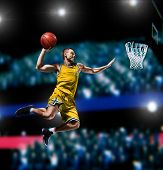 Basketball Player Making Slam Dunk On Basketball Arena poster