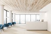 White Walls And Columns Office Reception Hall Interior With Wooden Ceiling, White Reception Desk Wit poster