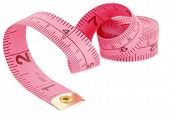 picture of tape-measure  - Curled pink measuring tape on white background - JPG