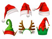 Christmas Holiday Hat. Funny 3d Elf, Snow Reindeer And Santa Claus Hats For Noel. Elves Clothes Isol poster