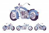 Chopper Custom Motorcycle Bright Blue Set. Motor Vehicle, Big, Heavy Machine In Classic Design For E poster