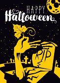 Happy Halloween Vector Banner With Zombie Arm Rising Out From The Grave With Pumpkin Leaf On The Bac poster