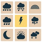 Climate Icons Set With Rainbow, Sunlight, Weather And Other Rainy Elements. Isolated Vector Illustra poster