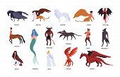 Collection Of Various Magical Mythical Creatures Isolated On White Background. Bundle Of Flat Cartoo poster