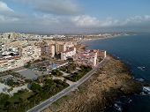 Aerial Photography La Mata Residential District, Torrevieja Townscape. Rocky Coast Blue Mediterranea poster
