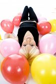 stock photo of lien  - Beautiful Teenager lien on floor - JPG