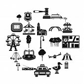 Urban Recreation Park Icons Set. Simple Set Of 25 Urban Recreation Park Vector Icons For Web Isolate poster