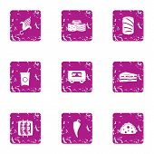 Excellent Cuisine Icons Set. Grunge Set Of 9 Excellent Cuisine Vector Icons For Web Isolated On Whit poster