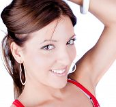 image of pretty girl  - Smiling beautiful woman with white earrings and bracelet - JPG