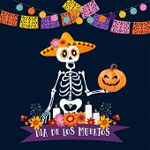 Halloween, Dia De Los Muertos Greeting Card. Mexican Day Of The Dead Invitation. Skeleton With Sombr poster