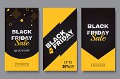 Black Friday Vertical Promotion Banner Set. Sale Banners Design Template. Yellow And Black Geometric poster