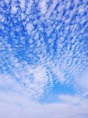 Blue Sky Background With Clouds . Sky With Clouds. poster