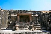 foto of ellora  - Facade of ancient Ellora rock carved Buddhist temple - JPG