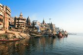 VARANASI, INDIA -14 FEBRUARY: Manikarnika Ghat, main burning ghat, most auspicious place for Hindu t